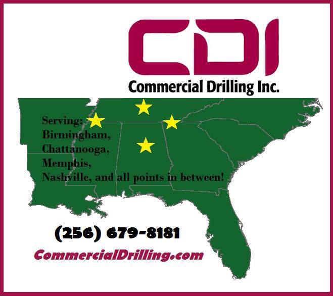 Commercial Drilling, Inc. serves from Memphis to Chattanooga and Nashville to Birmingham